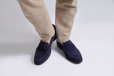 ジャケパンスタイルなど、仕事用にきれいめスリッポンとして履けスエードローファーウォーカーネイビー WALKER NAVY