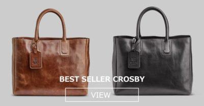 ベストセラー人気CROSBYレザートートバッグ。