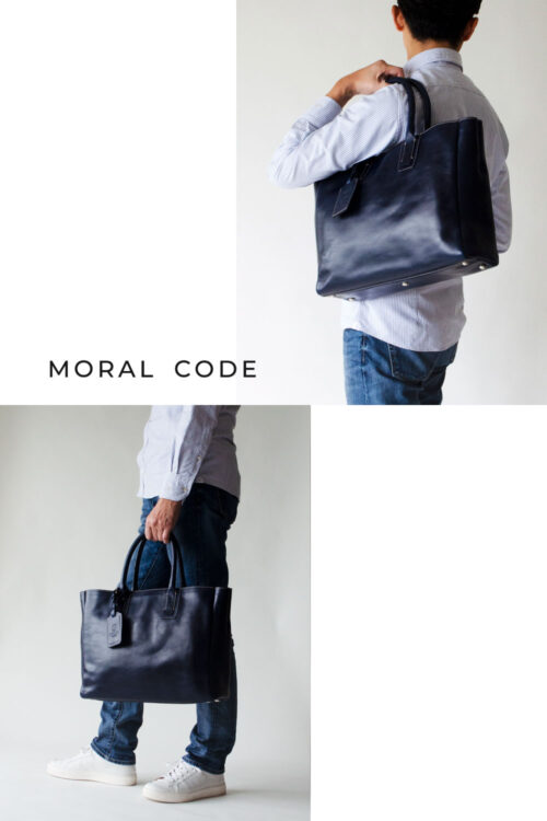 レザートートバッグ 紺ネイビー メンズビジネス向けA4大容量革鞄としておすすめ クロスビー