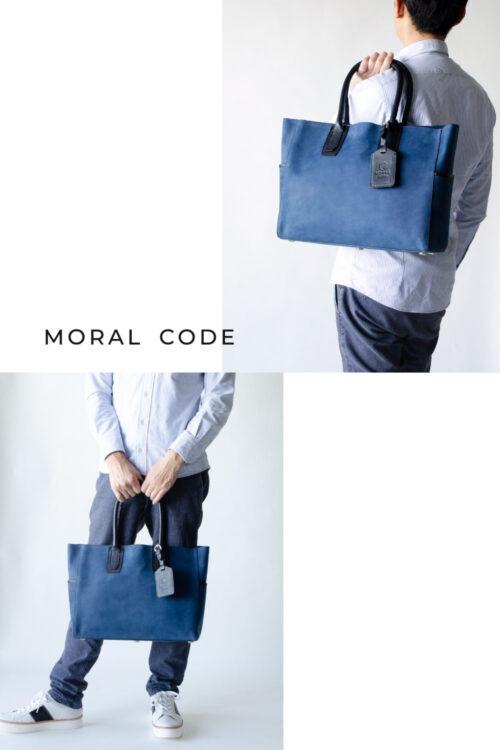 レザートートバッグ 紺ネイビー デニム メンズビジネス向けA4大容量革鞄としておすすめ クロスビー2
