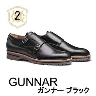 おすすめシューズランキング2位ダブルモンク革靴カジュアルGUNNARガンナーブラック黒